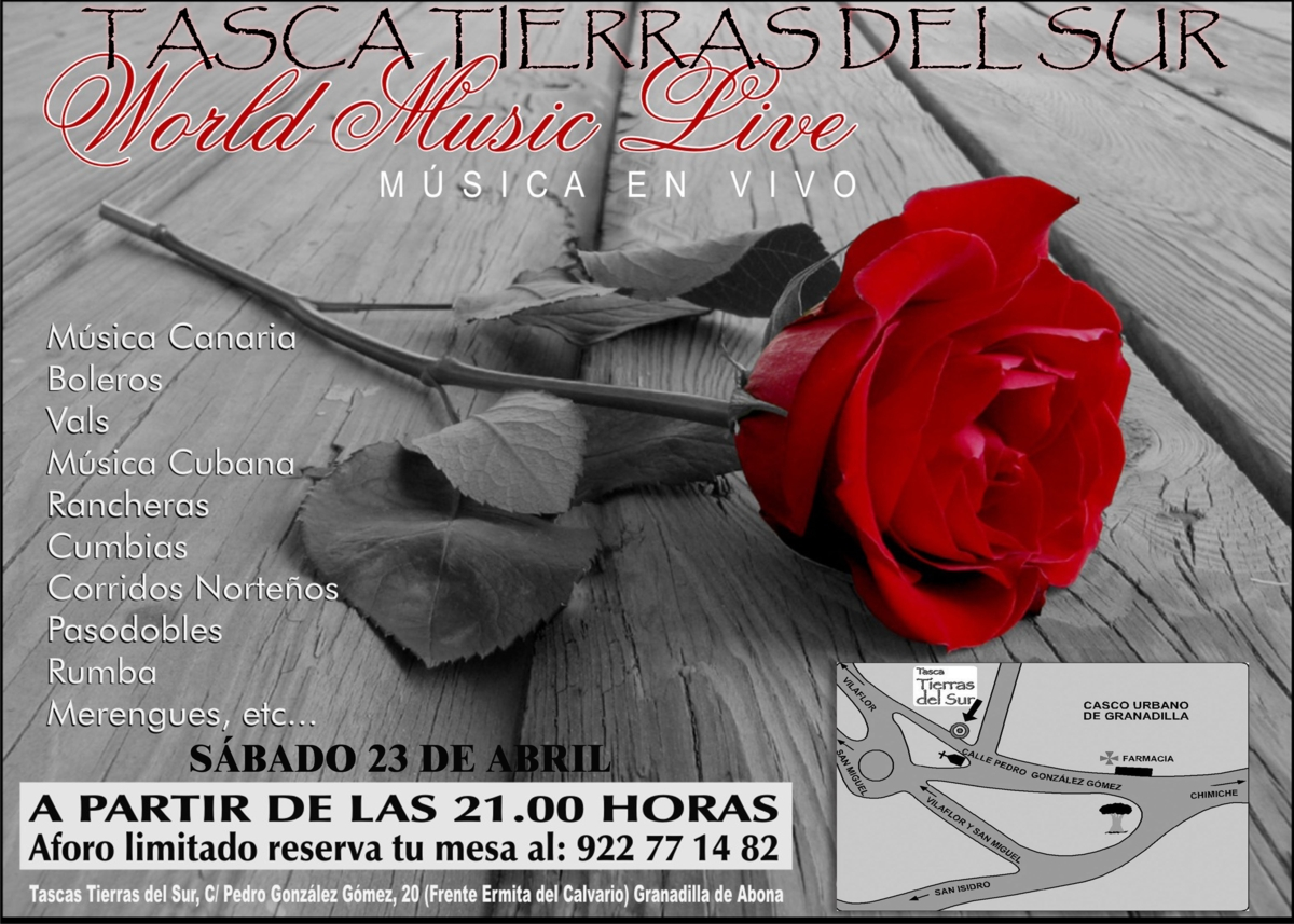 Tenerife Dining Special Events Texto español abajo Restaurant Tasca Tierras del Sur dinner with World Music this Saturday! Next Saturday at 21.00 h, Restaurant Tasca Tierras del Sur invites you […]